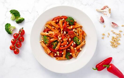 A freshly prepared plate of penne arrabbiata